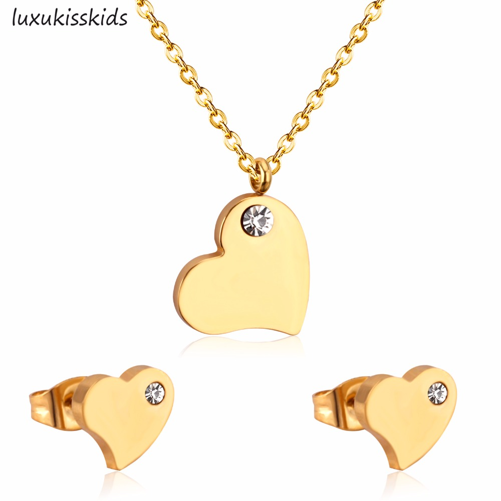 LUXUKISSKIDS Hot Selling Heart Shaped Pendant ,CZ Necklace And Earrings Set In Jewelry For Women With Free Chain