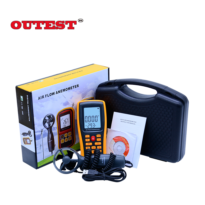 OUTEST Digital Anemometer Wind Speed Meter GM8902 0-45M/S Air Volume Ambient Temperature Tester With USB Interface