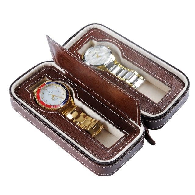 Professiona 2 Grids Watch Boxe PU leather Wrist Watch Box Display