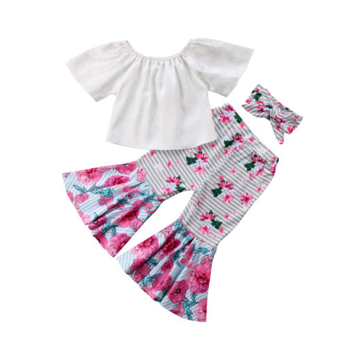 3Pcs Kids Baby Girls Off Shoulder White Tops Floral Striped Wide Leg Pants Bell Bottoms Headband Outfits Clothes Set Summer