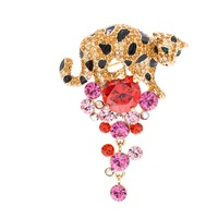High Quality Really Austrian Rhinestone Crystals Leopard Brooch Pins Broach Women Jewelry Accessories SB4363 Clearance Sale