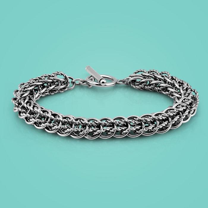 Vintage style Thai silver bracelet men's silver bracelet 10mm21cm charm jewelry Solid silver bracelet Hip hop popular bijoux