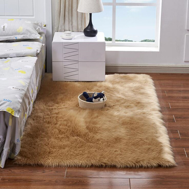 Bedroom Chair With Blanket Chairs World Market Fashion Soft Home Faux Wool Carpet Cover Rugs Artificial Plain Fluffy Mat For Kids Living Room
