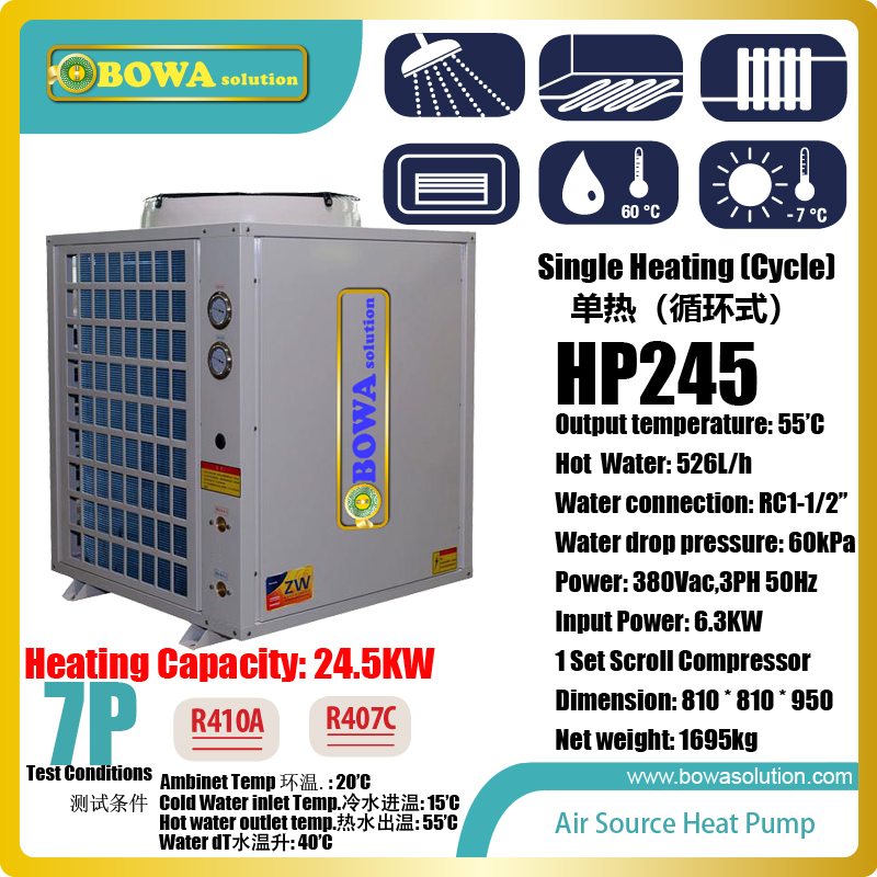 7HP cycle heating air source heat pump is good choice for the places need lots of hot water, such as resturants & food factories 11kw heating capacity r410a to water and 4 5mpa working pressure plate heat exchanger is used in r410a heat pump air conditioner