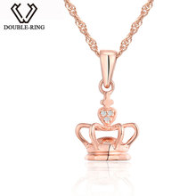 DOUBLE-R Genuine 0.01ct Diamond Crown necklaces & pendants 925 Sterling Silver Jewelry for Women 18k Rose Gold Brand Jewelry