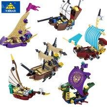 KAZI 6 Pcs/ensemble Pirates Fantome Bateau Educatifs Construction Blocs de Construction Jouets Pour Enfants Compatible Toutes Ma