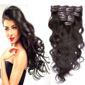"7A Brazilian Virgin Hair Clip In Hair Extension 16""-26"" #2 7/8/10Pcs Dark Brown Body Wave Clip In Human Hair Extensions Clips In"