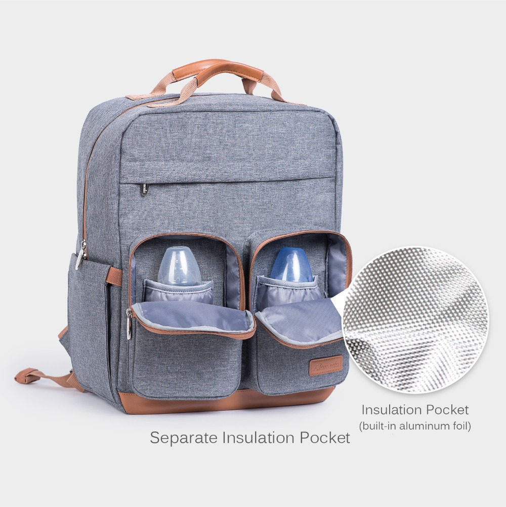 Fashion Maternity Bag Diaper Bag Backpack for Baby Care Large Capacity Travel Nappy Bag for Stroller with Changing Pad (Grey)