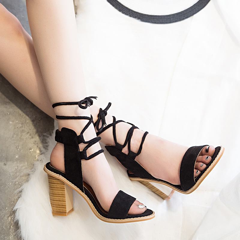 5dda256866bed Flock Sexy Women Summer Shoes High Heels Sandals Lace Up Fashion Pumps Cross  Tied Party Female Wedding Shoes Ladies Sandal BT972-in High Heels from Shoes  on ...