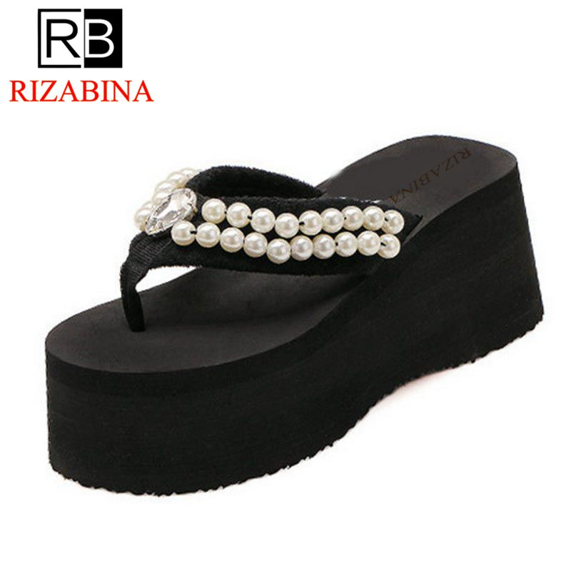 RizaBina Summer Shoes Women Pearl Flip Flops Shoes Women Thick Platform Soft Beach Slippers Women Leisure Footwear Size 35-39