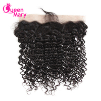Queen Mary Ear To Ear Lace Frontal Closure Non Remy Hair Brazilian Deep Wave Lace Frontal With Baby Hair 100% Human Hair