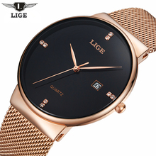 LIGE Brand Men's watches simple dress quartz watch men steel mesh strap Wristwatches Ultra-thin clock relogio masculino