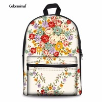 Coloranimal Chinese Style Women Canvas Backpack Flower Floral Pattern Children Kids Mochila School Bags Satchel for Teen Girl