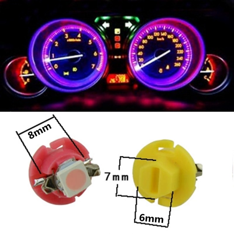 Colore : Green light Lampadina auto 10PCS 2W T4.7 Pannello strumenti cuneo LED Light Cruscotto Indicatore Cluster Lampadina