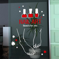 Nail Art Vinly Wall Sticker Foot Nail Polish Mural Art Wall Decal Nail Bar Sign Poster Nail Art Glass Window Door Decoration