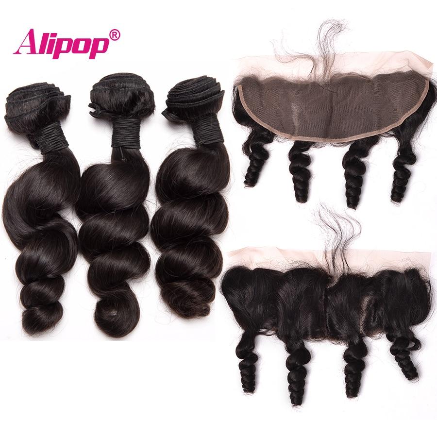 Loose Wave Bundles With Closure 3 Bundles Human Hair Bundles With Closure Brazilian Hair Weave Bundles Alipop Lace Frontal Remy