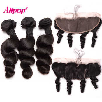 Loose Wave Bundles With Closure 3 Bundles Human Hair Bundles With Closure Brazilian Hair Weave Bundles Alipop Lace Frontal Remy - DISCOUNT ITEM  0% OFF All Category