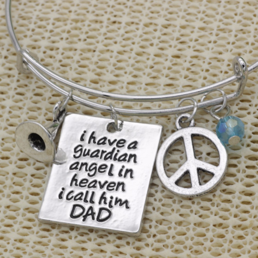 Fashion adjustable bracelet crystal Jewelry hat I have a guardian angel in heaven I call him dad peace pendant Bangle B176