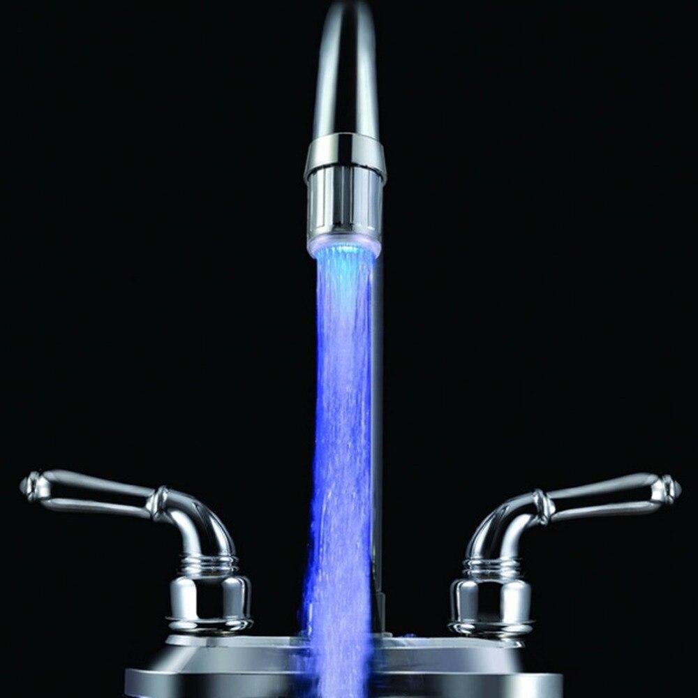 3 цвета гидравлический светодиодный свет кран Температура Сенсор душ Водопроводной воды кран Glow душ Слева Винт wthout Питание