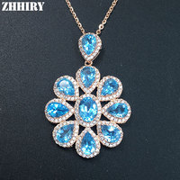 Natural Genuine Blue Topaz Gem Stone Necklace Pendant Chain Real 925 Sterling Silver Women Fine Jewelry