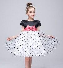 2-10T Girl Prom Dresses Junior  Kids  Polka Dot Bow Short Puff Sleeve  O-Neck Princess Dress Pageant Evening Ball Gowns vestidos