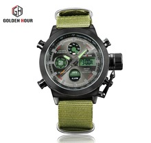 Fashion sports brand military dual display watch men green military nylon buckle with quartz watch 3bar waterproof relogio