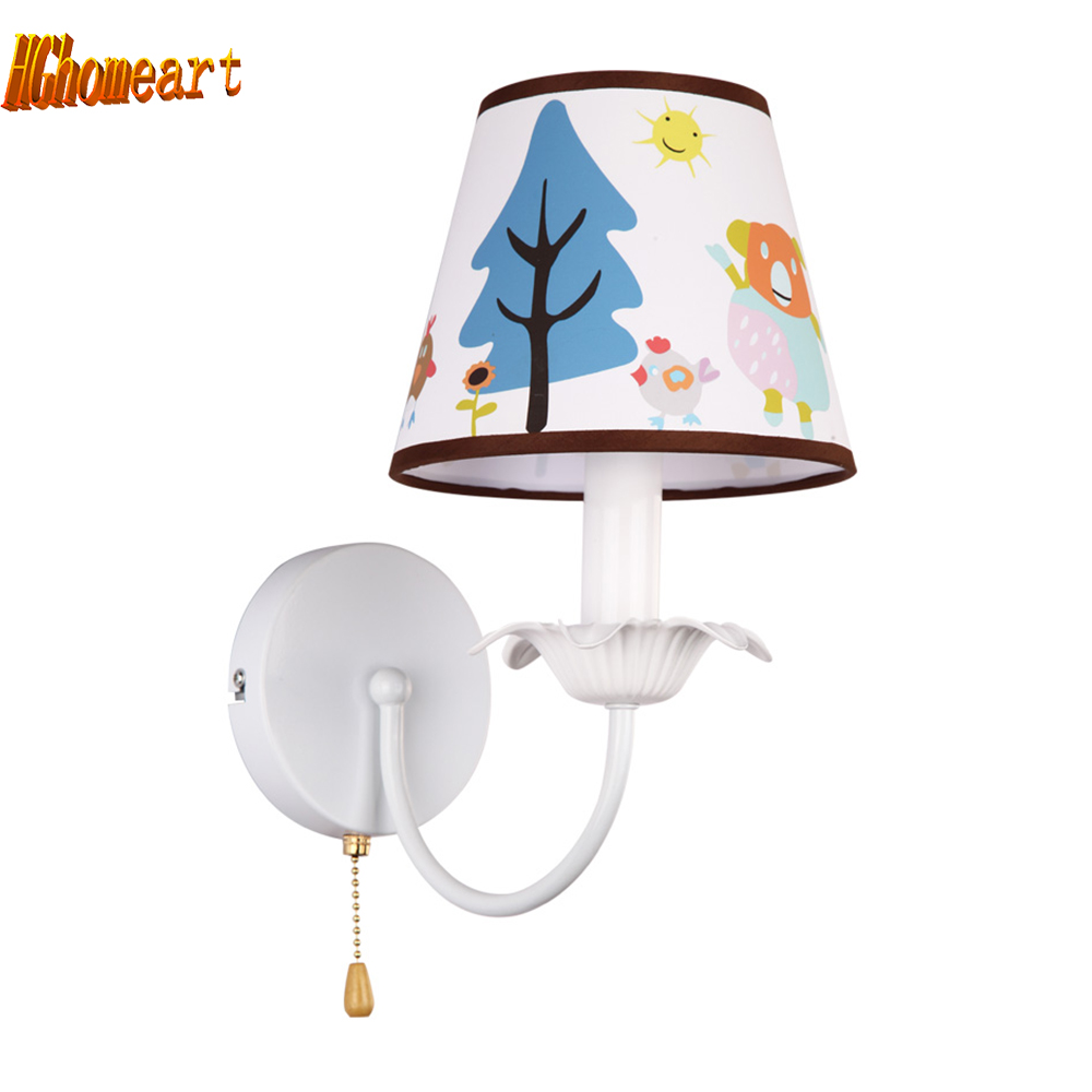 ФОТО Hghomeart Pink Wall Lamp Led E27 Bulb  Home Lighting Kids Room Suspension Wall Light for The Bedroom Reading Bed Light Bedside
