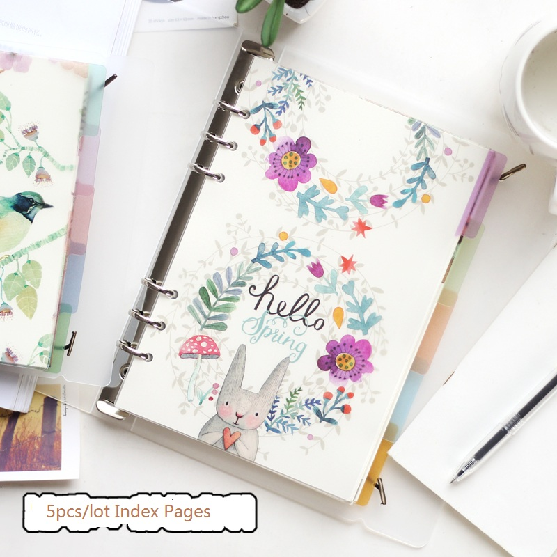 A5 A6 Original Kawaii Spiral Notebook Divider Cute Fine Organizer Separator Pages Office School Stationery Index Paper