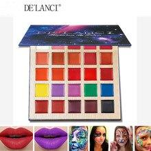 DELANCI Palette de rouge à lèvres professionnel, brillant à lèvres mat, multi ombre, maquillage, 25 couleurs, peinture à lhuile pour visage, Halloween