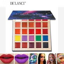 DELANCI mat ruj paleti Multishade dudak paleti güzellik makyaj 25 renk profesyonel Lipgloss cadılar bayramı yüz boyası yağ