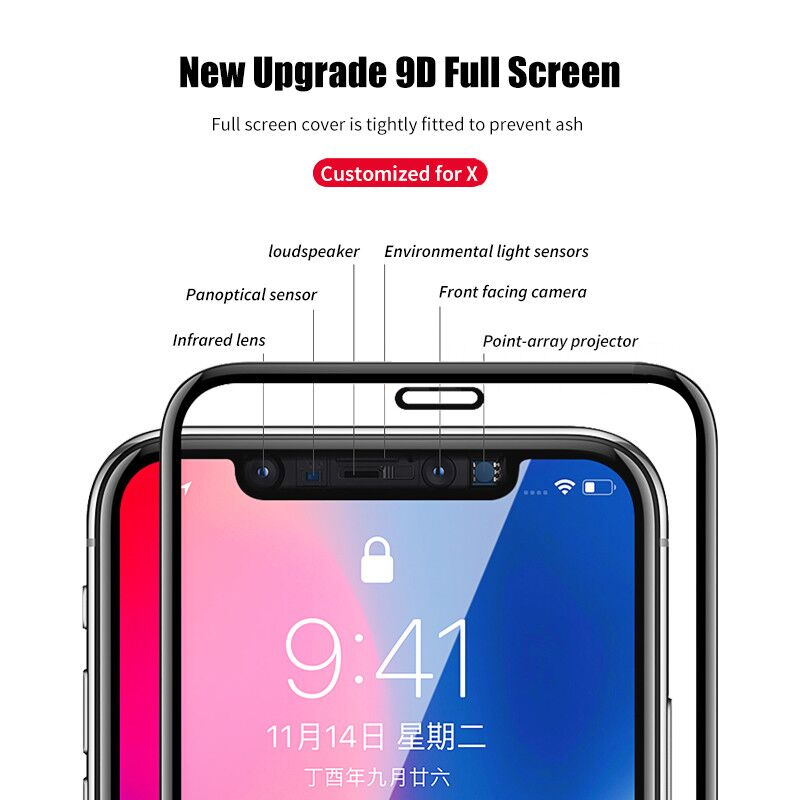 Image 4 - 9D Full coverage protective glass for iPhone X XR XS max glass iphone XS max X XR screen protector iPhone XS max XR X glass flim-in Phone Screen Protectors from Cellphones & Telecommunications on