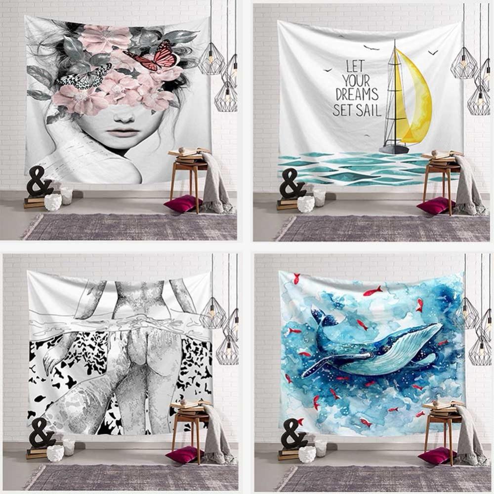 Bohemian Sailboat Whale Palm Tapestry Wall Hanging Dinosaur Bones Girl Pattern Art Sunbathing Beach Towel Blanket Home Decor