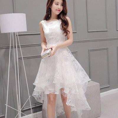 Organza Sleeveless Evening Dress White Dress Pettiskirt Fairy Slim Waist Short Long Skirt Vestidos De Novia