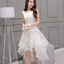 Organza Sleeveless Evening Dress White Pettiskirt Fairy Slim Waist Short Long Skirt Vestidos De Novia
