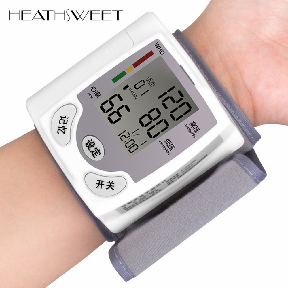 Healthsweet Главная автоматический цифровой ЖК-дисплей наручные часы Приборы для измерения артериального давления Мониторы Сфигмоманометр Heart ...