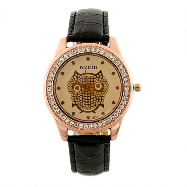 Fashion Brand Women Watch Luxury Owl Diamonds Pu Leather Ladies Casual Clock Quartz Dress Gift Watch