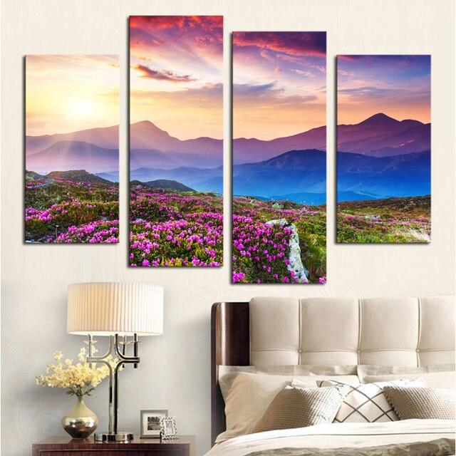 Us 10 27 50 Di Sconto 4 Panels Senza Cornice Moderna Fiori Colorati Su Montagne Stampato Pittura Immagine Tela Pittura Di Paesaggio Per Soggiorno In