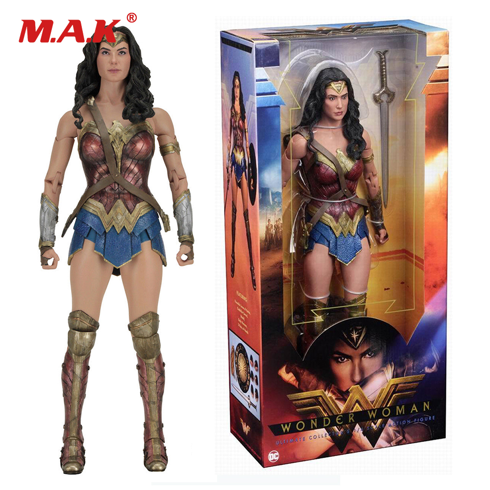 где купить collectible 1/4 scale wonder woman PVC 18 inches action figure full set doll toys gifts дешево
