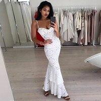 2019 Новые Элегантные вечерние платье летняя мода Спагетти ремень сине белые Макси кружево с повязкой для женщин платья для Vestido