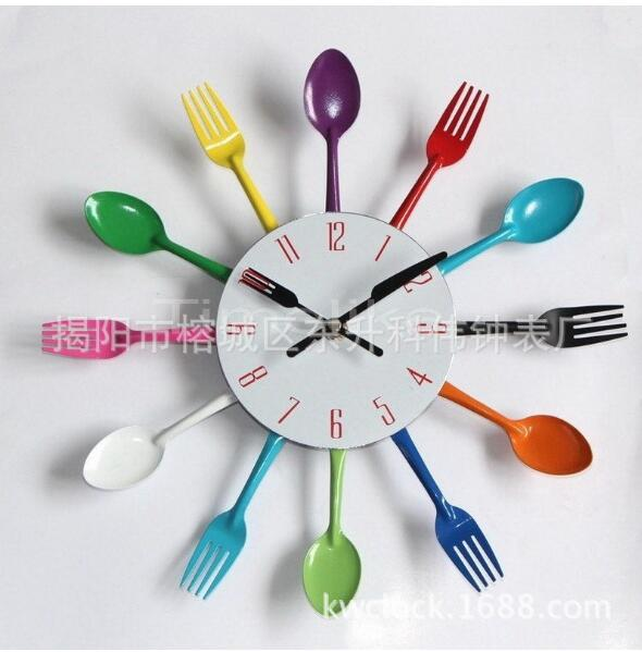 Uniquebella Metal Kitchen Cutlery Utensil Wall Clock Spoon: 2019 New Stainless Steel Knife And Fork Clock/Modern