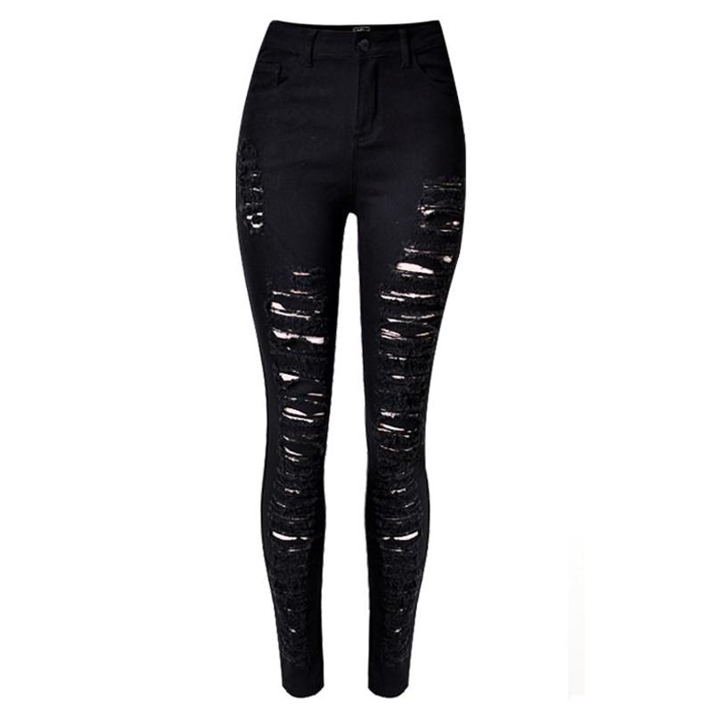 High Waisted Sexy Black Ripped Jeans For Women Casual Skinny Push Up Jeans 2017 Denim Hole Pants Big Size jeans feminino ZIH018 harajuku new fashion women casual high waisted casual holes skinny jeans