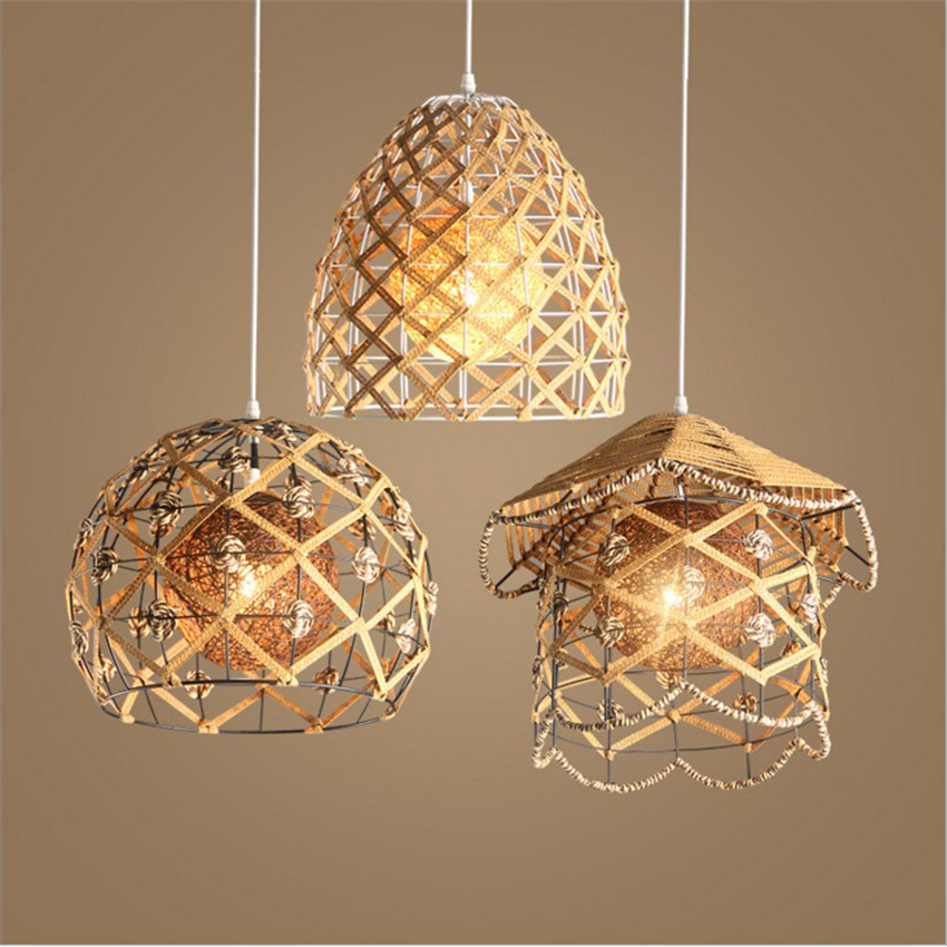 Lfh American Village Rattan Weaving Droplight Modern