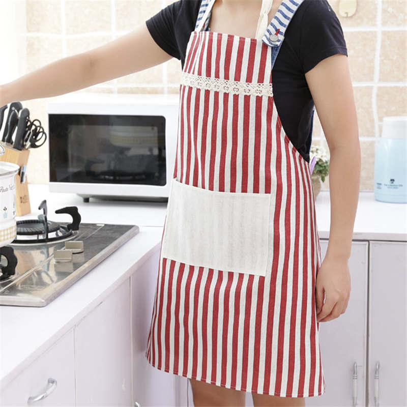 DoreenBeads Marine Style Striped Apron Kitchen Restaurant Cooking Antifouling Sleeveless Apron Gift For Family Blue Red 1PC ...