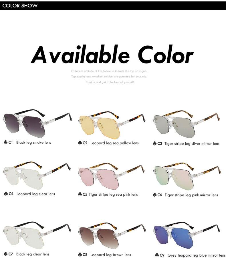 Oversized Rimless Frame Sunglasses