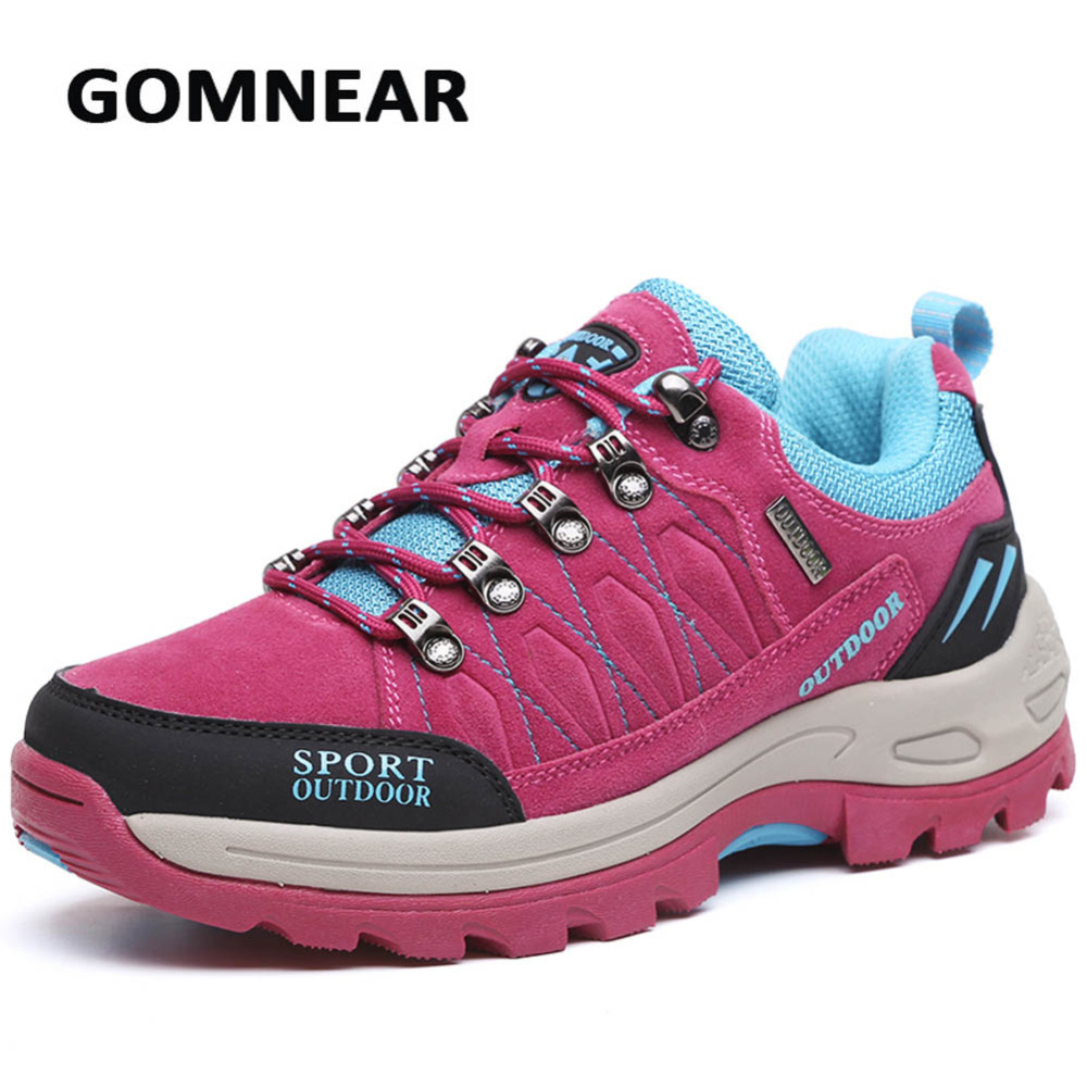 ФОТО GOMNEAR New Hiking Shoes Women's Outdoor Camping Climbing Trekking Shoes Breathable Antiskid Damping Brand Sports Sneakers