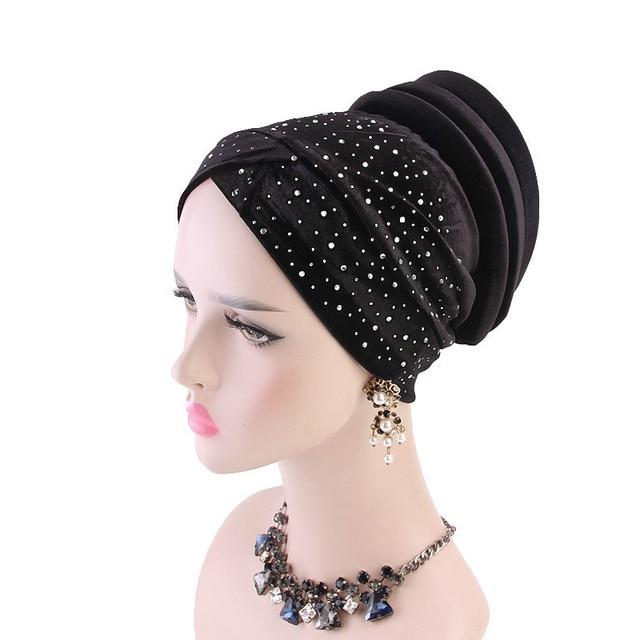 女性ベルベットスパンコール hijabs 帽子イスラム教徒女性カバーインナーターバン帽子スカーフキャップターバン女性のヘアアクセサリー
