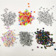 100pcs 7mm Square Alphabet Bead Acrylic Heart Number Letter Beads for Jewelry Making Bracelet Anklet DIY Accessory Random Mixed