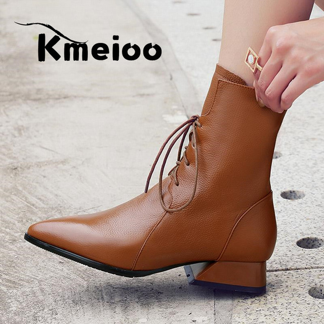 89cb8f340408 Kmeioo Brand Black Women Ankle Boots 2018 Pointed Toe 3CM High Heels Side  Zipper Dress Shoes US Size 5-15