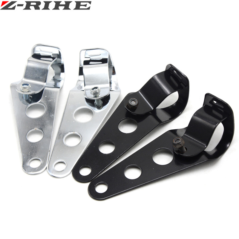 chrome Balck Motorcycle parts Headlight Mounting Bracket Fork Ears For Cafe Racer Bobber Chopper 35 43mm Universal in Covers Ornamental Mouldings from Automobiles Motorcycles