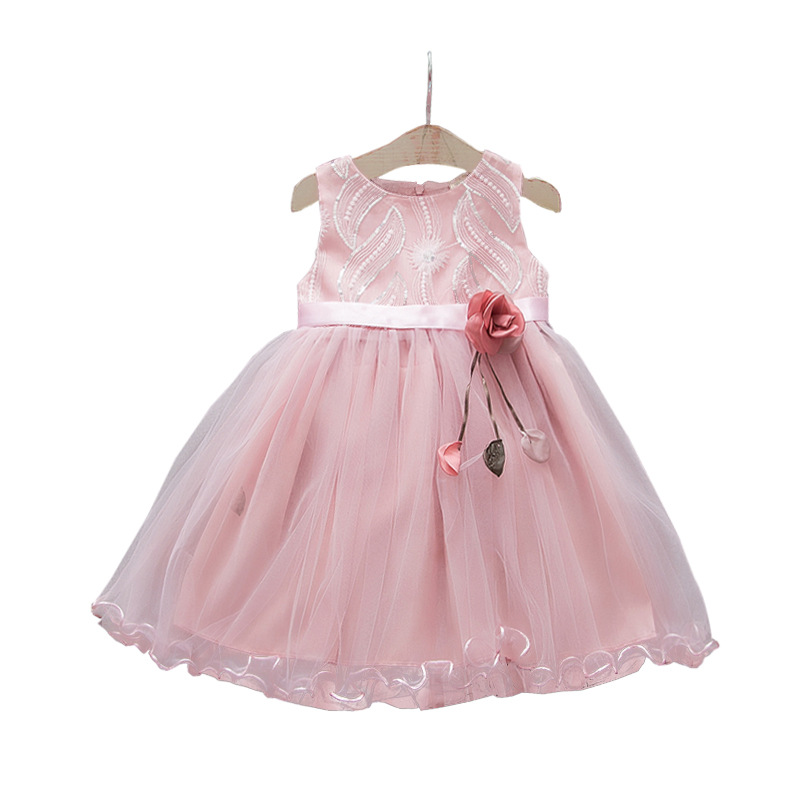 2019 New Flower Baby Girl Wedding Dress Newborn Mesh